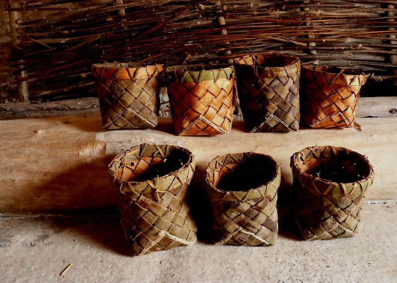 woven bark containers